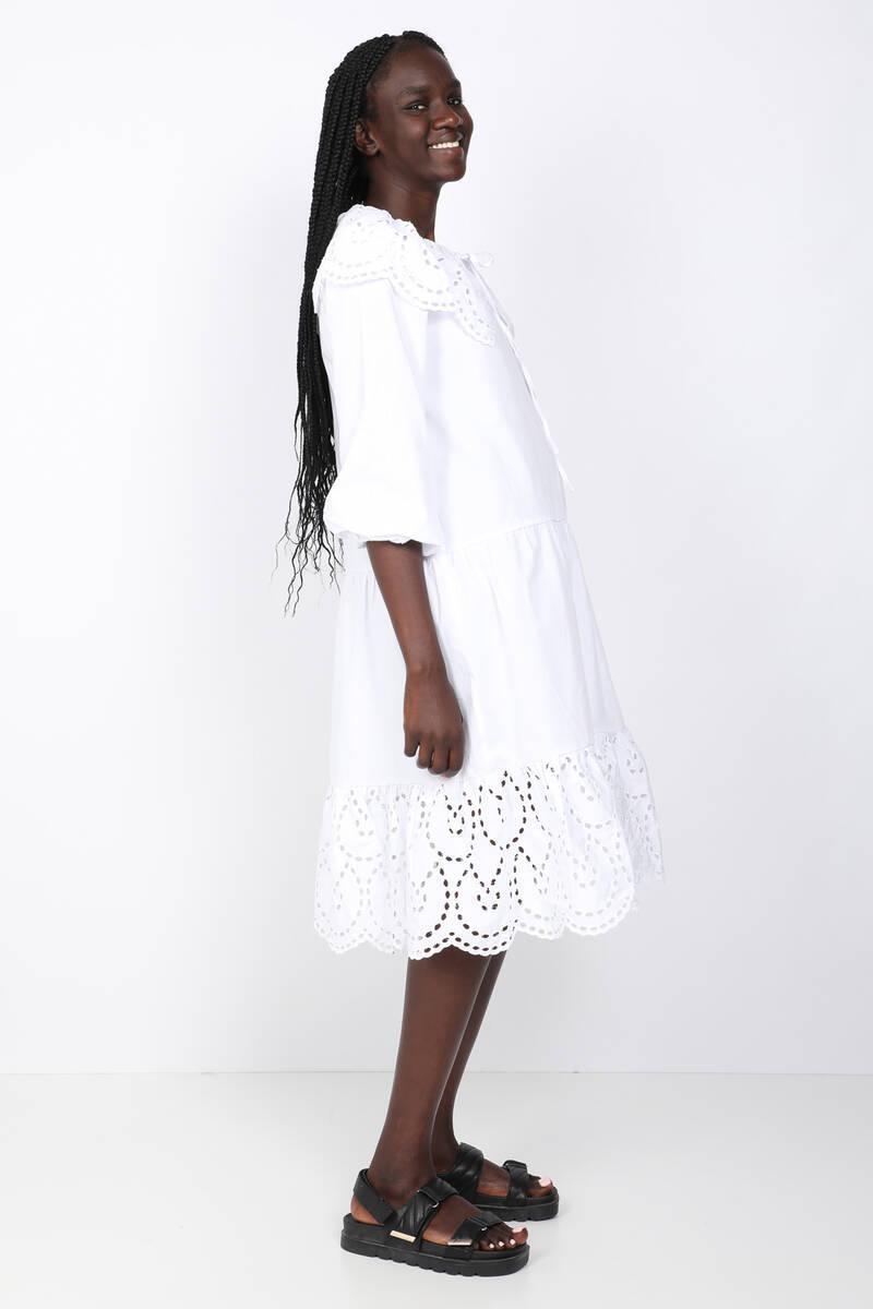 Kadın Beyaz Fisto Yakalı Elbise