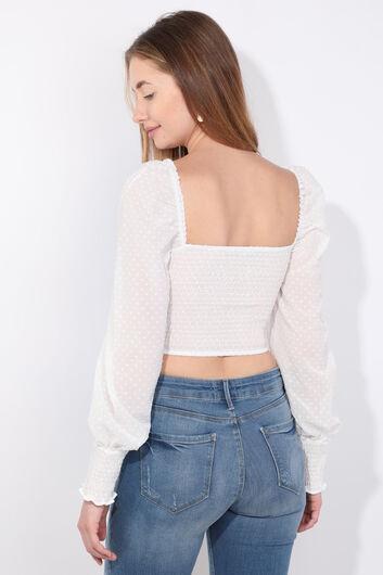 Kadın Beyaz Gipeli Crop Bluz - Thumbnail