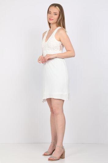 MARKAPIA WOMAN - Kadın Beyaz Güpür Detaylı Elbise (1)