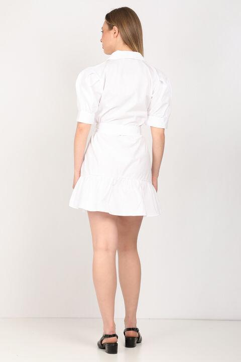 Kadın Beyaz Kemerli Ceket Elbise