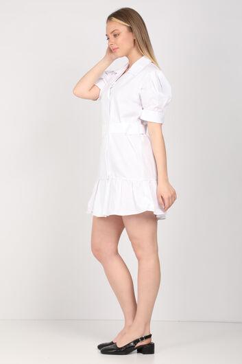 Kadın Beyaz Kemerli Ceket Elbise - Thumbnail