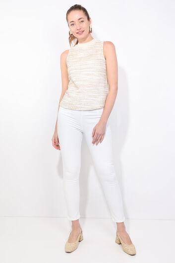 Kadın Beyaz Slim Fit Jean Pantolon - Thumbnail