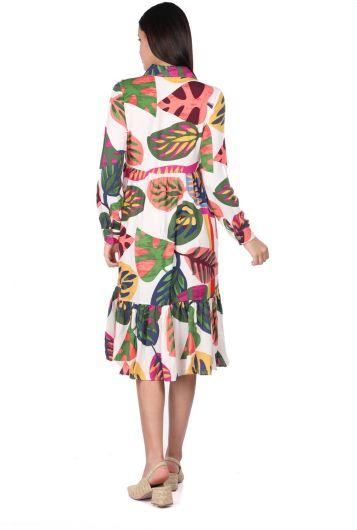 MARKAPIA WOMAN - Kadın Beyaz Tropik Desenli Büzgülü Elbise (1)