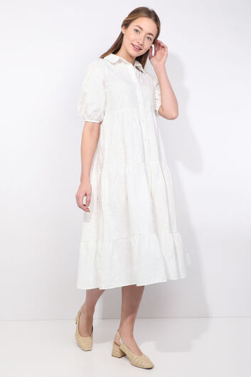 MARKAPIA WOMAN - Kadın Beyaz Yarım Kol Baskı Desen Elbise (1)