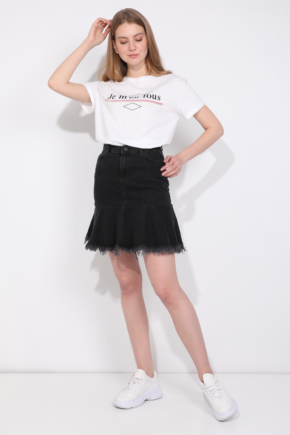 Kadın Bisiklet Yaka Basic T-shirt Beyaz