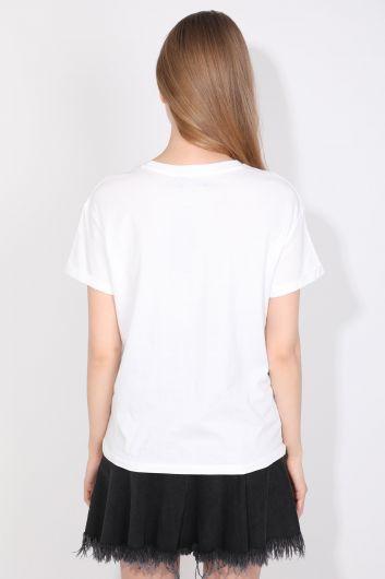 Kadın Bisiklet Yaka Basic T-shirt Beyaz - Thumbnail