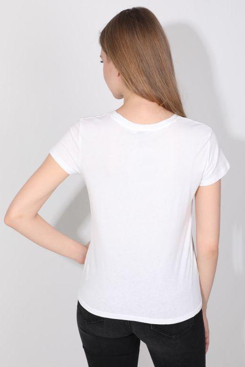 Kadın Bisiklet Yaka Baskılı T-shirt Beyaz