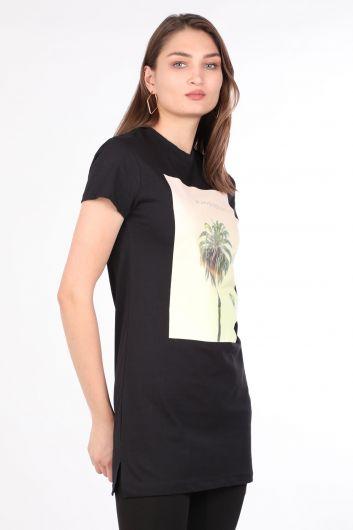 MARKAPIA WOMAN - Kadın Bisiklet Yaka Baskılı Uzun T-shirt Siyah (1)