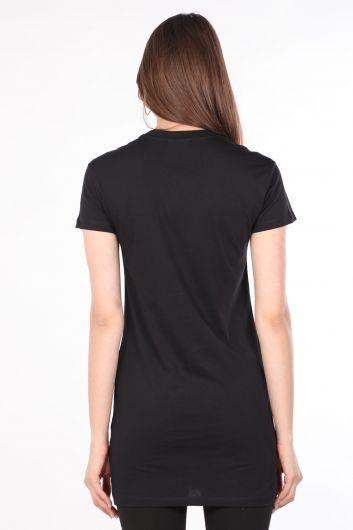 Kadın Bisiklet Yaka Baskılı Uzun T-shirt Siyah - Thumbnail