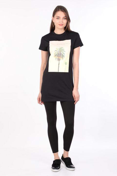 Kadın Bisiklet Yaka Baskılı Uzun T-shirt Siyah