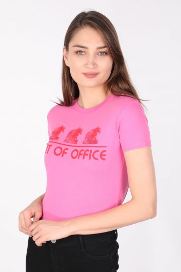 MARKAPIA WOMAN - Kadın Bisiklet Yaka T-shirt Pembe (1)