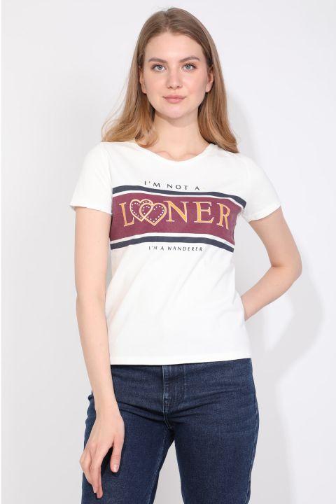 Kadın Bisiklet Yaka Yazılı T-shirt Beyaz