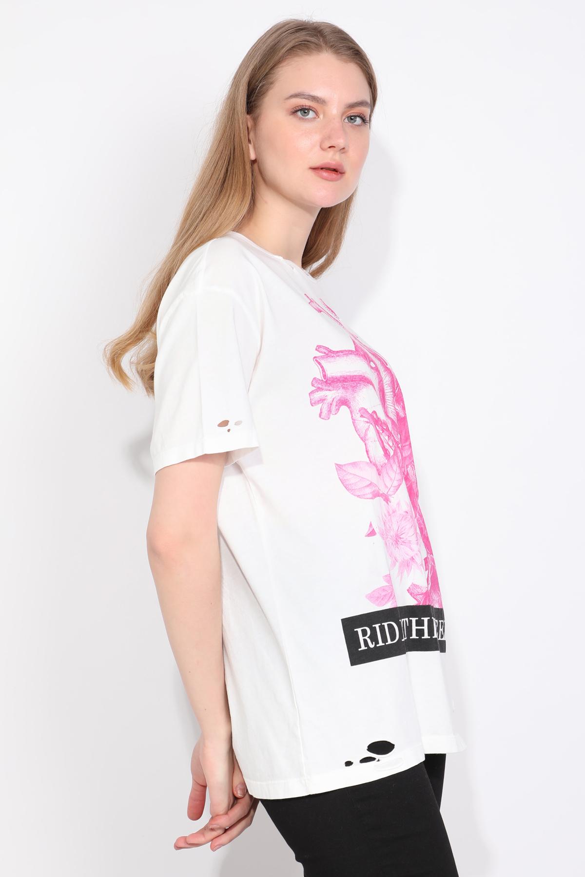 Kadın Bisiklet Yaka Yırtık Detaylı Baskılı T-shirt Beyaz