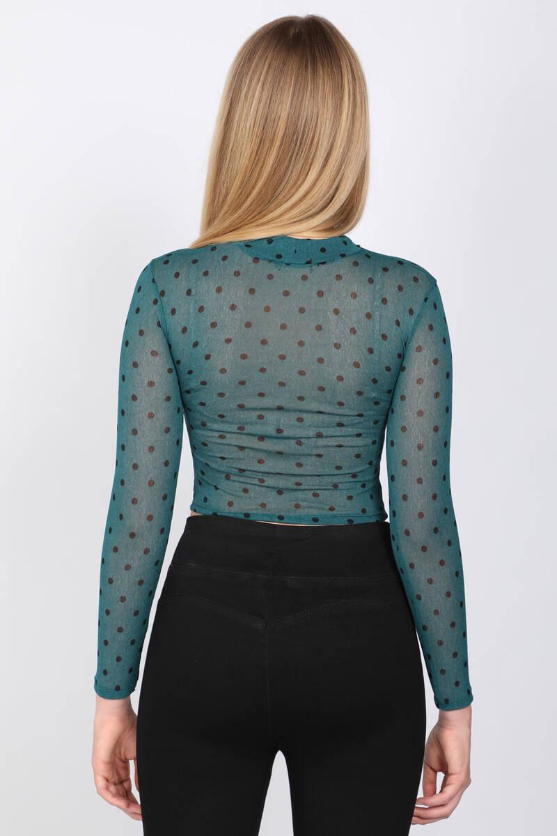 Kadın Boğazlı Drapeli Transparan Bluz Zümrüt Yeşili