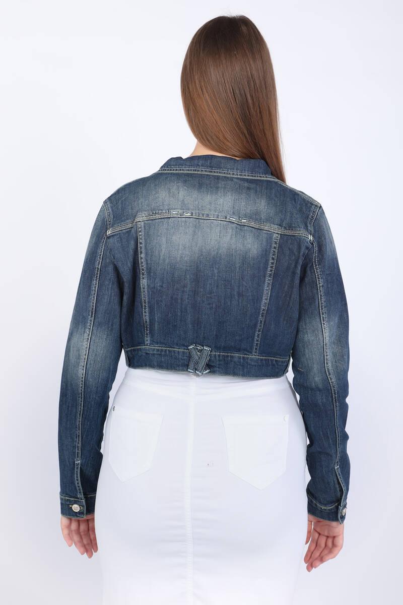 Kadın Büyük Beden Crop Jean Ceket