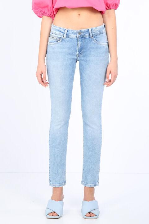 Kadın Buz Mavisi Cep Detaylı Jean Pantolon