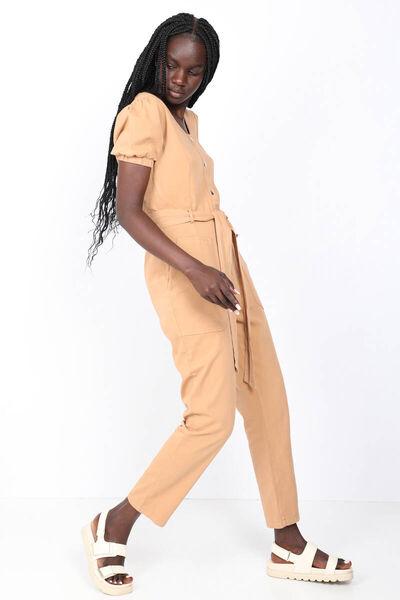 MARKAPIA WOMAN - Kadın Camel Kuşaklı Gabardin Tulum Pantolon (1)