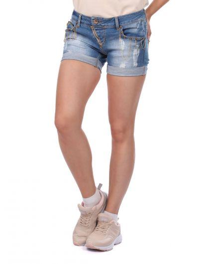 BLUE WHITE - Kadın Cep Detaylı Jean Şort (1)
