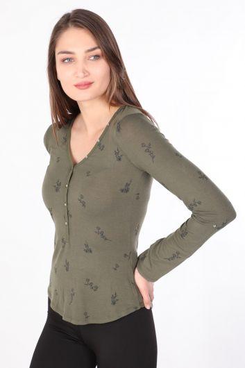 MARKAPIA WOMAN - Kadın Çiçekli Yarım Düğmeli Uzun Kollu Basic T-shirt Haki (1)