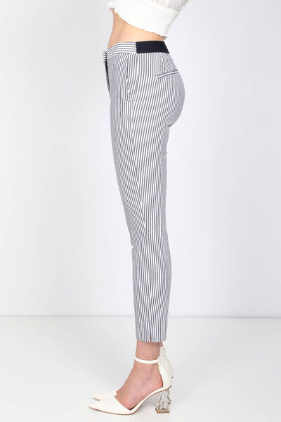 MARKAPIA WOMAN - Kadın Çizgili Belden Lastikli Pantolon (1)