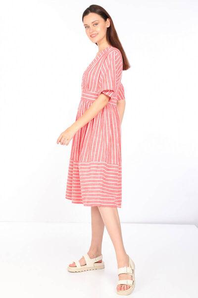 MARKAPIA WOMAN - Kadın Çizgili Kruvaze Yaka Elbise (1)