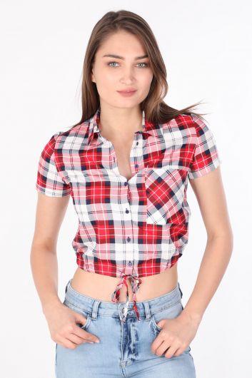 MARKAPIA WOMAN - Kadın Crop Ekose Gömlek Kırmızı (1)