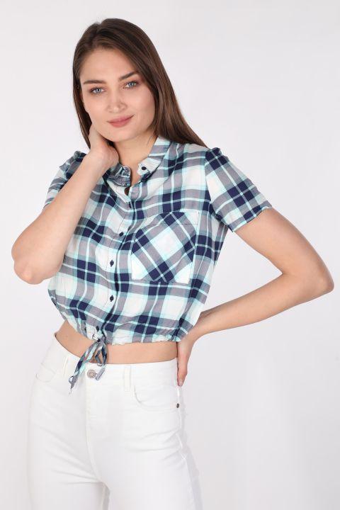 Kadın Crop Ekose Gömlek Mavi