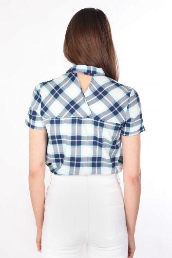 Kadın Crop Ekose Gömlek Mavi - Thumbnail