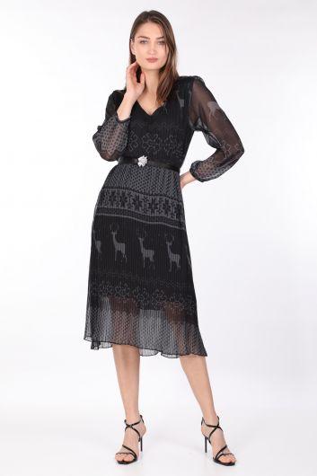 MARKAPIA WOMAN - Kadın Desenli Pliseli Şifon Elbise Siyah (1)