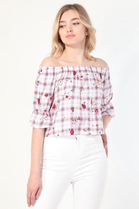 Kadın Desenli Straplez Bluz