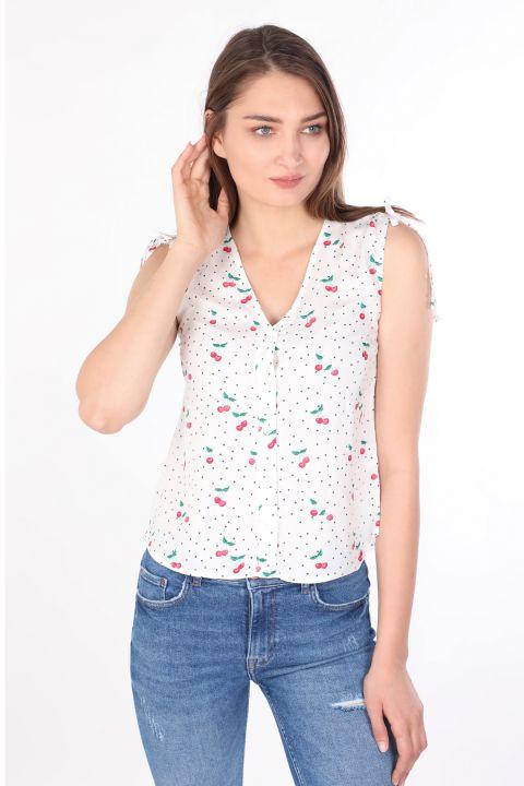 Kadın Beyaz Desenli V Yaka Kolsuz Gömlek