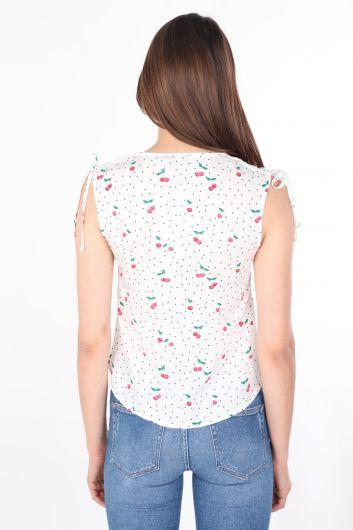 Kadın Beyaz Desenli V Yaka Kolsuz Gömlek - Thumbnail