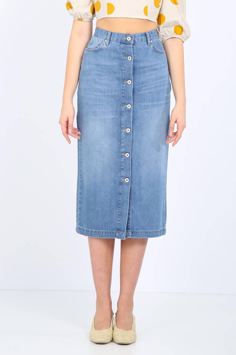 Kadın Açık Mavi Düğmeli Uzun Jean Etek