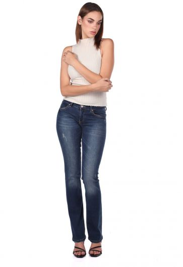 Kadın Düz Kesim Jean Pantolon - Thumbnail