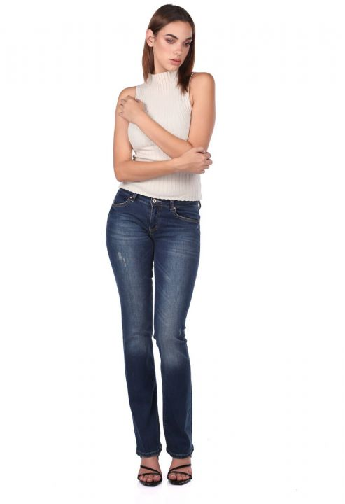 Kadın Düz Kesim Jean Pantolon