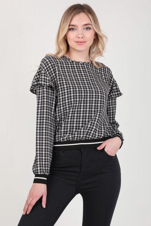 Kadın Ekose Fırfır Detaylı Bluz
