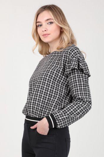 MARKAPİA WOMAN - Kadın Ekose Fırfır Detaylı Bluz (1)