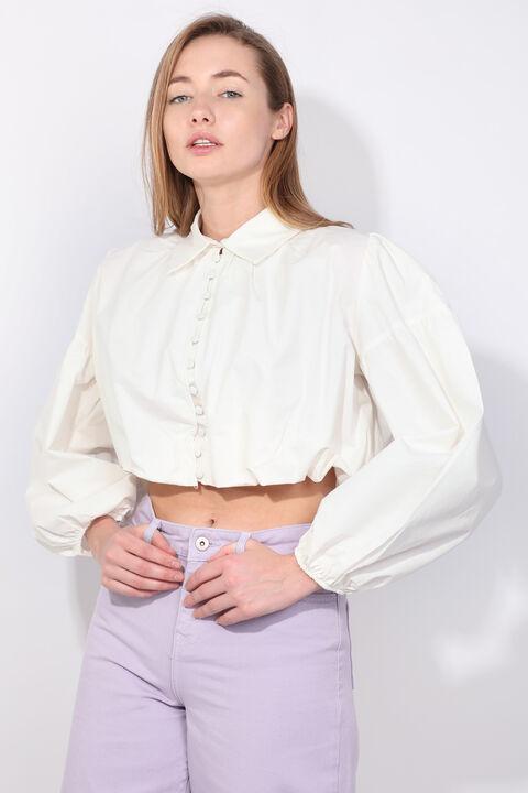 Kadın Ekru Balon Kol Crop Kabarık Gömlek