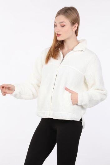 MARKAPIA WOMAN - Women Ecru Zipper Plush Sweatshirt (1)