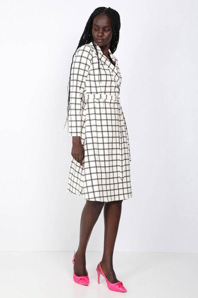 MARKAPIA WOMAN - Kadın Ekru Kareli Ceket Yaka Elbise (1)