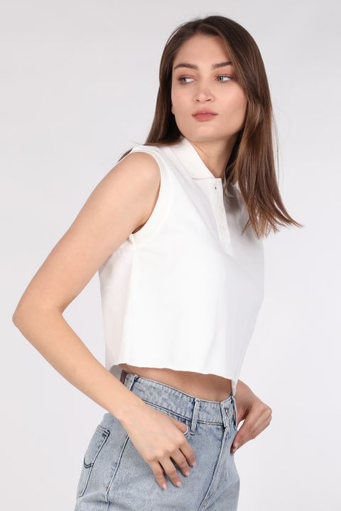Kadın Kolsuz Polo Yaka Basic T-shirt Ekru