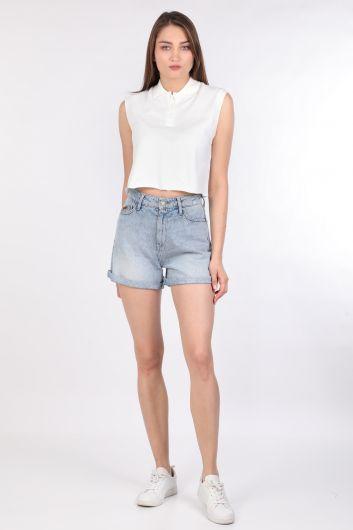 Kadın Kolsuz Polo Yaka Basic T-shirt Ekru - Thumbnail