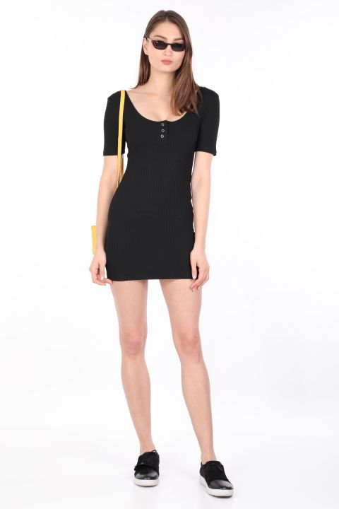 Kadın Fitilli Dar Elbise Siyah