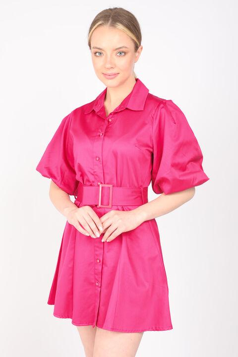Kadın Fuşya Düğmeli Balon Kol Elbise