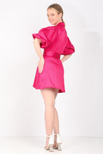Kadın Fuşya Düğmeli Balon Kol Elbise - Thumbnail