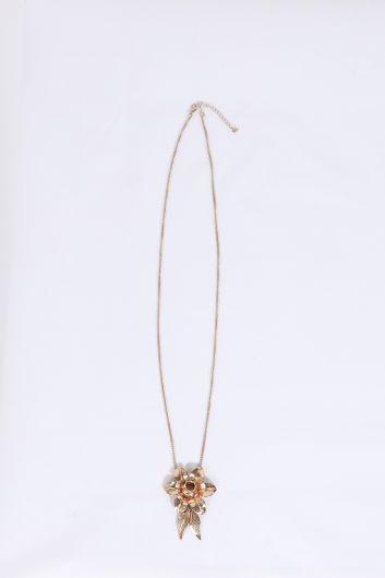 Kadın Gold Çiçek Kabartmalı Sallantı Kolye - Thumbnail
