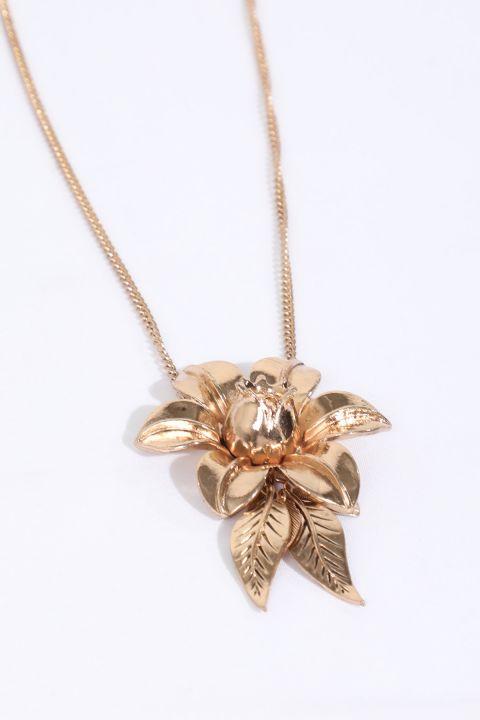 Kadın Gold Çiçek Kabartmalı Sallantı Kolye