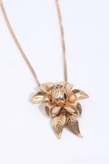 MARKAPIA WOMAN - Kadın Gold Çiçek Kabartmalı Sallantı Kolye (1)