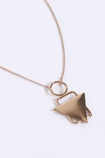 MARKAPIA WOMAN - Kadın Gold Geometrik İnce Zincirli Sallantı Kolye (1)