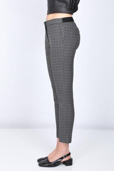 MARKAPIA WOMAN - Kadın Gri Belden Lastikli Ekose Kumaş Pantolon (1)